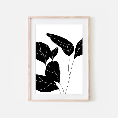 Botanical No. 3 Wall Art - Minimalist Plant Illustration - Black and White Print, Poster or Printable Download