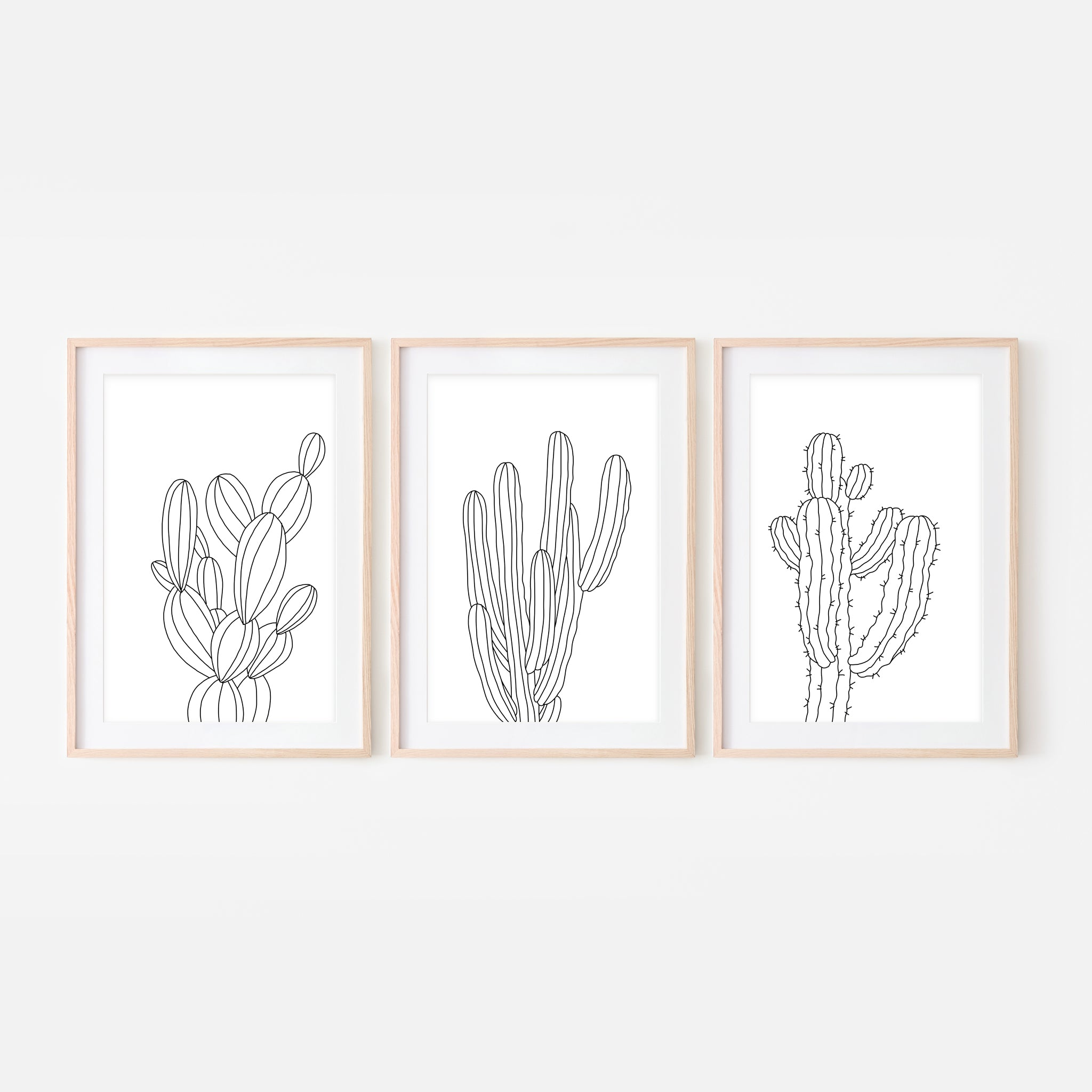Set of 3 - Botanical Set No. 3 Wall Art - Minimalist Cactus Line Drawing - Black and White Print, Poster or Printable Download