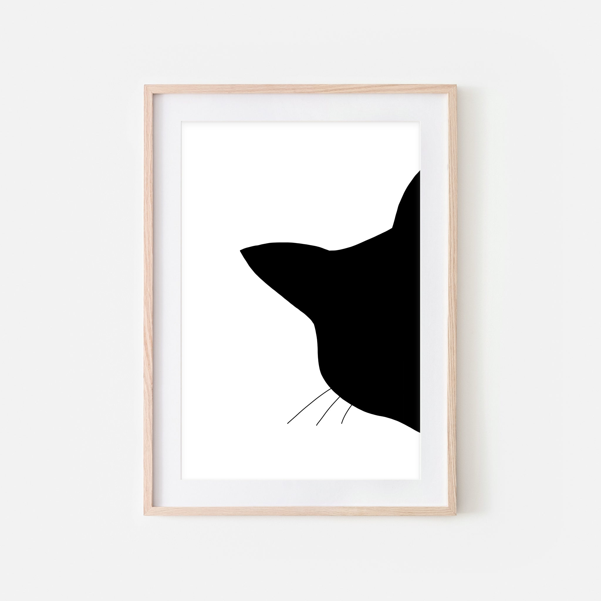 Cat Head Silhouette Wall Art - Minimalist Black and White Print, Poster or Printable Download