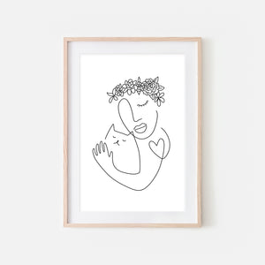 Floral Woman Cat Lover Line Art - Black and White Continuous Line Drawing Wall Decor - Print, Poster or Printable Download