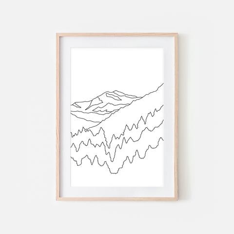 Mountains No. 3 Wall Art - Minimalist Abstract Landscape Line Drawing - Black and White Print, Poster or Printable Download