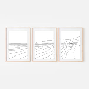 Beach Set No. 3 - Set of 3 Wall Art - Ocean Line Art - Mountain Coastal Decor - Minimalist Abstract Landscape - Black and White Print, Poster or Printable Download
