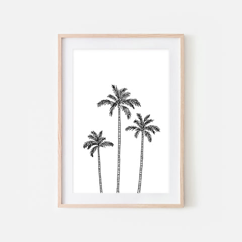 Palm Tree No. 3 Line Art - Minimalist Beach Tropical Wall Decor - Black and White Print, Poster or Printable Download