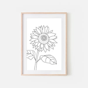 Floral No. 3 Wall Art - Minimalist Sunflower Flower Line Drawing - Black and White Print, Poster or Printable Download