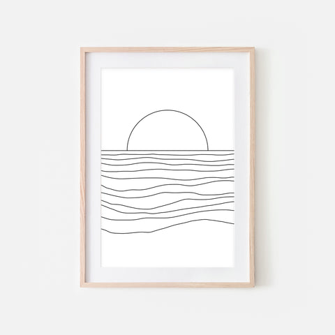 Sunset No. 3 Wall Art - Minimalist Abstract Ocean Beach Landscape Line Drawing - Black and White Print, Poster or Printable Download