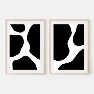 Set of 2 Abstract No. 4 Black and White Wall Art - Cow Spots Pattern - Print, Poster or Printable Download - Vertical