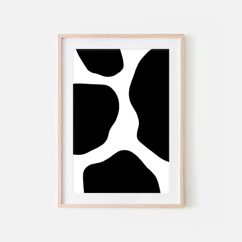 Abstract No. 4 Wall Art - Cow Pattern Minimalist Black and White Print, Poster or Printable Download - Vertical