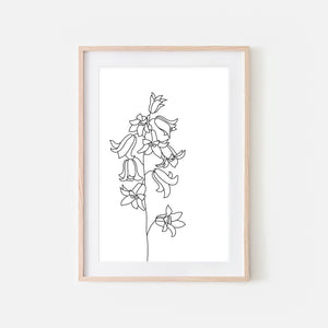 Floral No. 4 Wall Art - Minimalist Bell Flowers Line Drawing - Black and White Print, Poster or Printable Download