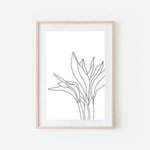 Botanical No. 4 Wall Art - Minimalist Plant Line Drawing - Black and White Print, Poster or Printable Download
