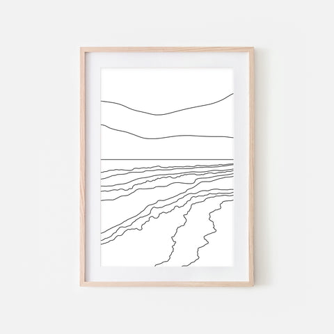 Beach No. 4 Wall Art - Minimalist Abstract Coastal Landscape Line Drawing - Black and White Print, Poster or Printable Download