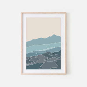 Mountains No. 4 Wall Art - Minimalist Abstract Landscape - Teal Blue Gray Beige Print, Poster or Printable Download