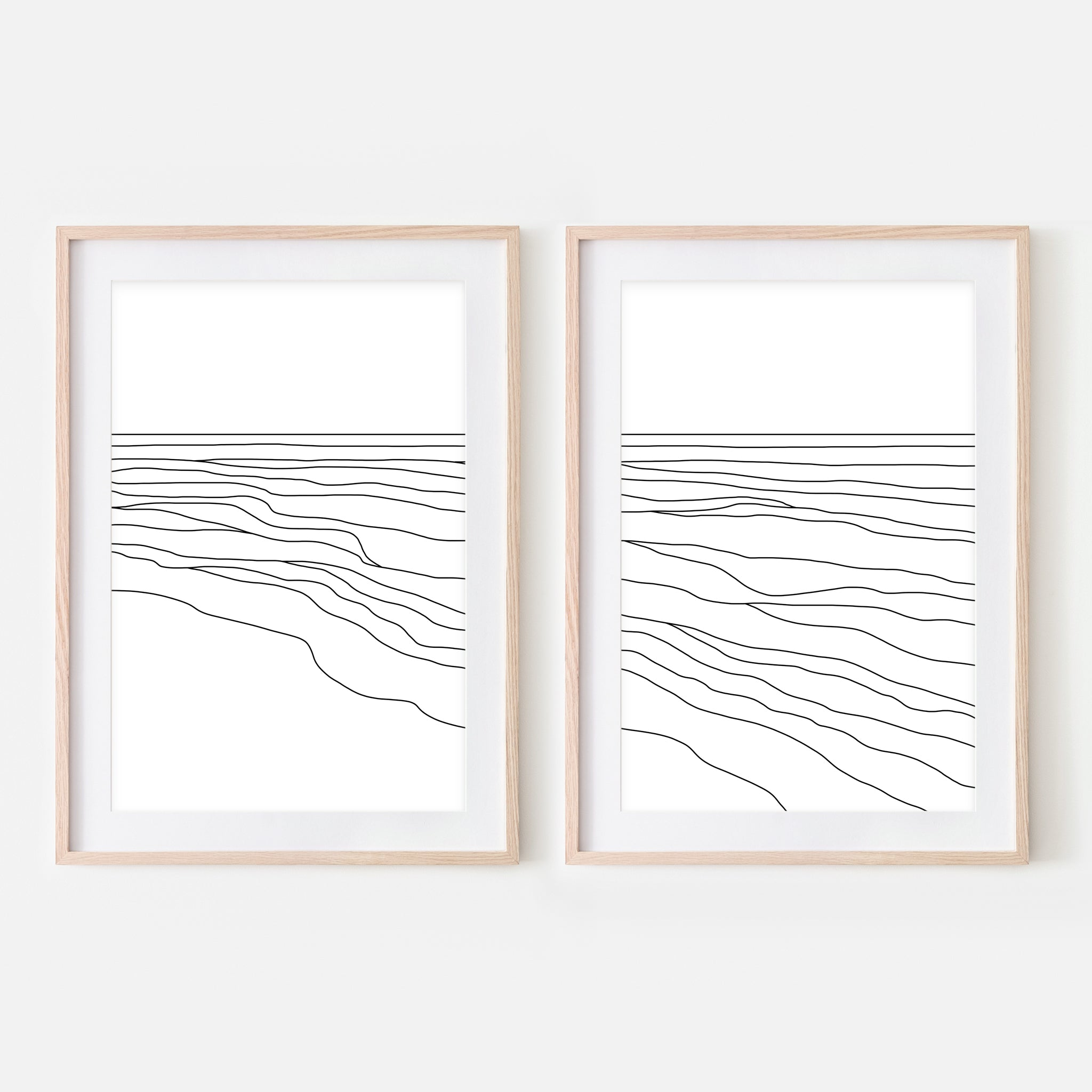 Beach Set No. 4 - Set of 2 Wall Art - Ocean Waves Line Art - Coastal Decor - Minimalist Abstract Landscape - Black and White Print, Poster or Printable Download