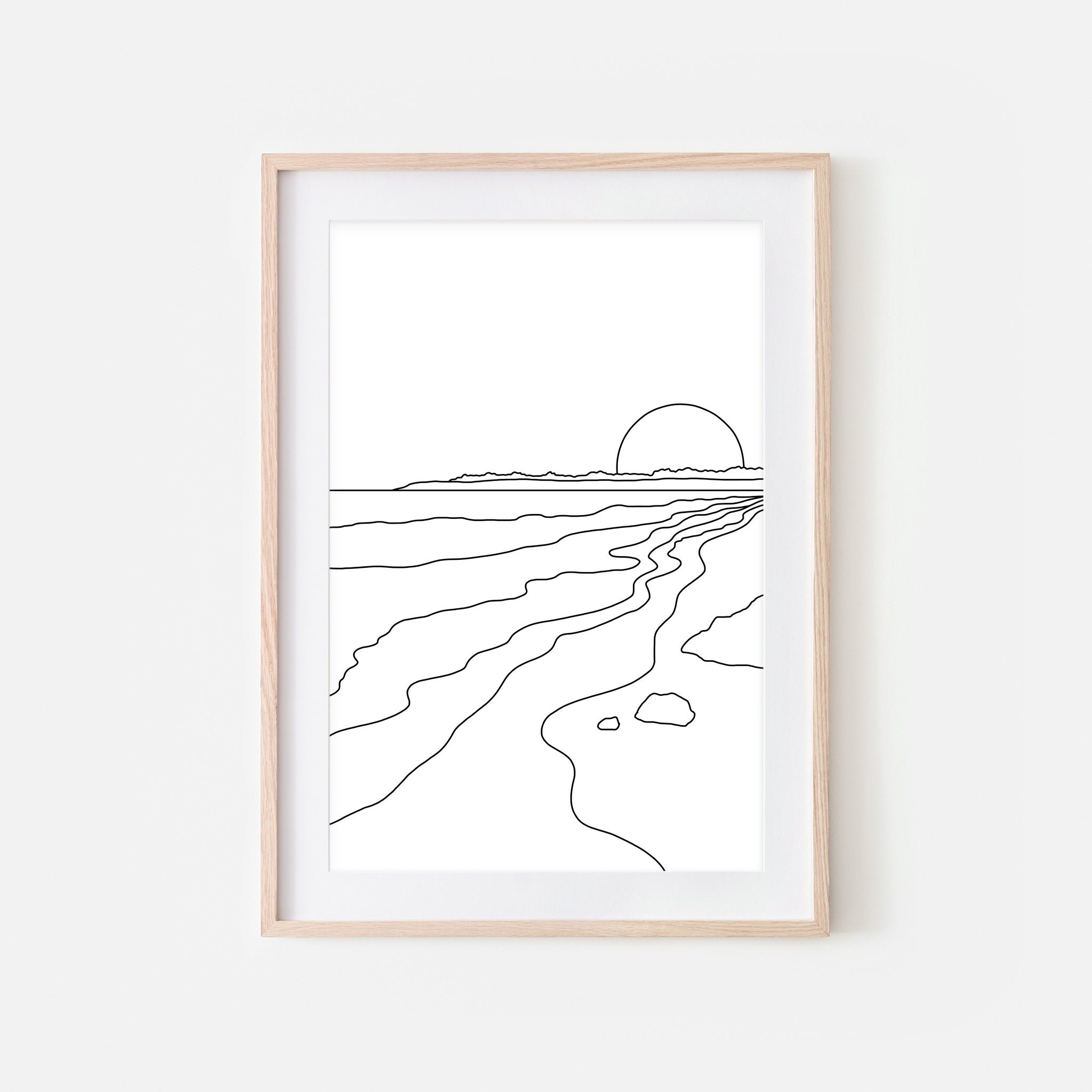 Sunset No. 4 Line Art - Minimalist Abstract Coastal Ocean Beach Landscape Wall Decor - Black and White Print, Poster or Printable Download