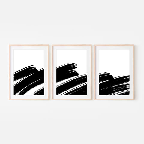 Set of 3 Abstract No. 5 Wall Art - Black and White Ink Brush Strokes Painting Triptych - Print, Poster or Printable Download
