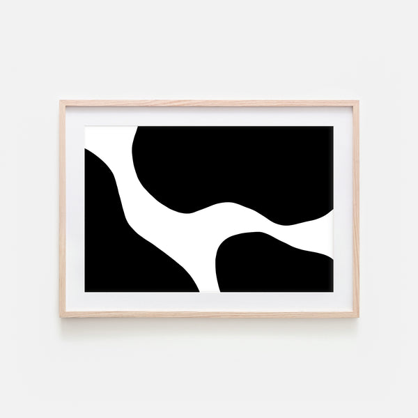 Abstract No. 5 Wall Art - Cow Pattern Minimalist Black and White Print, Poster or Printable Download - Horizontal