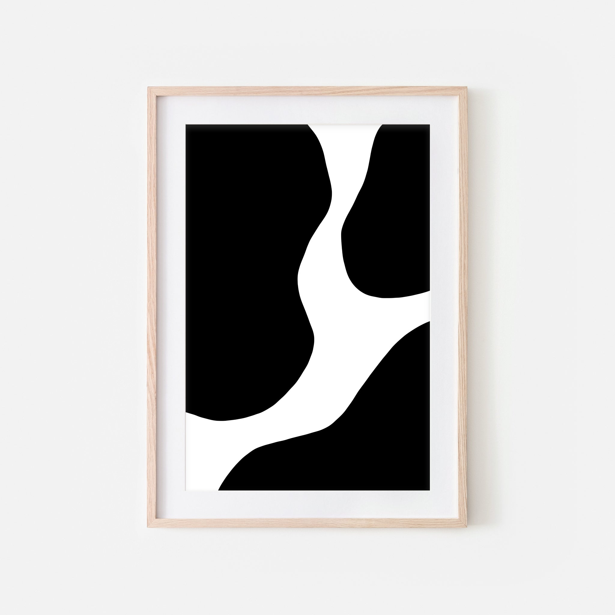 Abstract No. 5 Wall Art - Cow Pattern Minimalist Black and White Print, Poster or Printable Download - Vertical