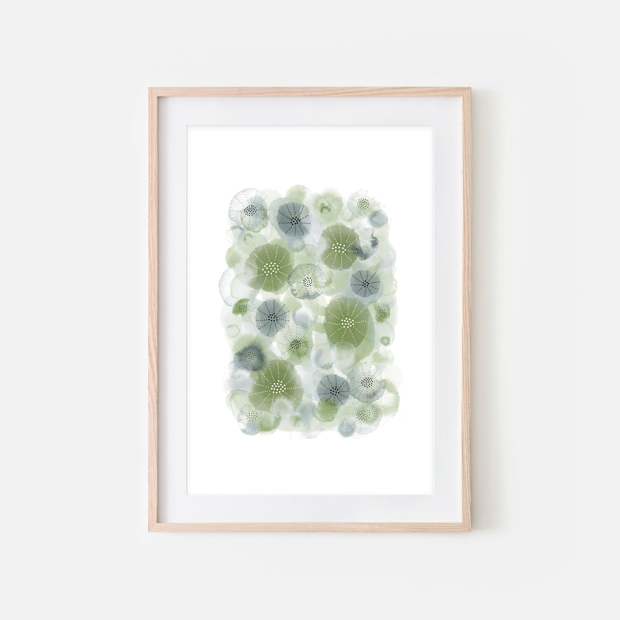 Abstract Watercolor No. 5 Wall Art - Olive Green Sage Gray Print, Poster or Printable Download - Vertical