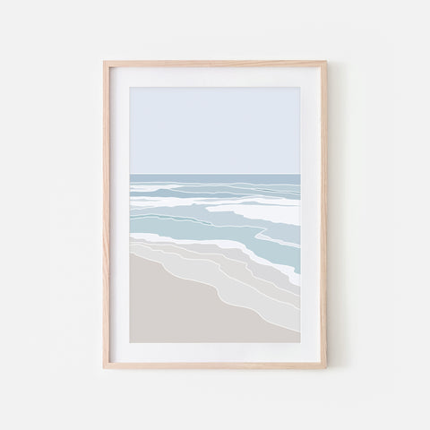 Beach No. 5 Wall Art - Minimalist Abstract Coastal Landscape - Blue Teal Beige Print, Poster or Printable Download