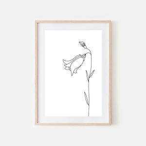 Floral No. 5 Wall Art - Minimalist Bell Flower Line Drawing - Black and White Print, Poster or Printable Download