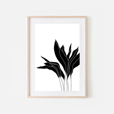 Botanical No. 5 Wall Art - Minimalist Plant Illustration - Black and White Print, Poster or Printable Download