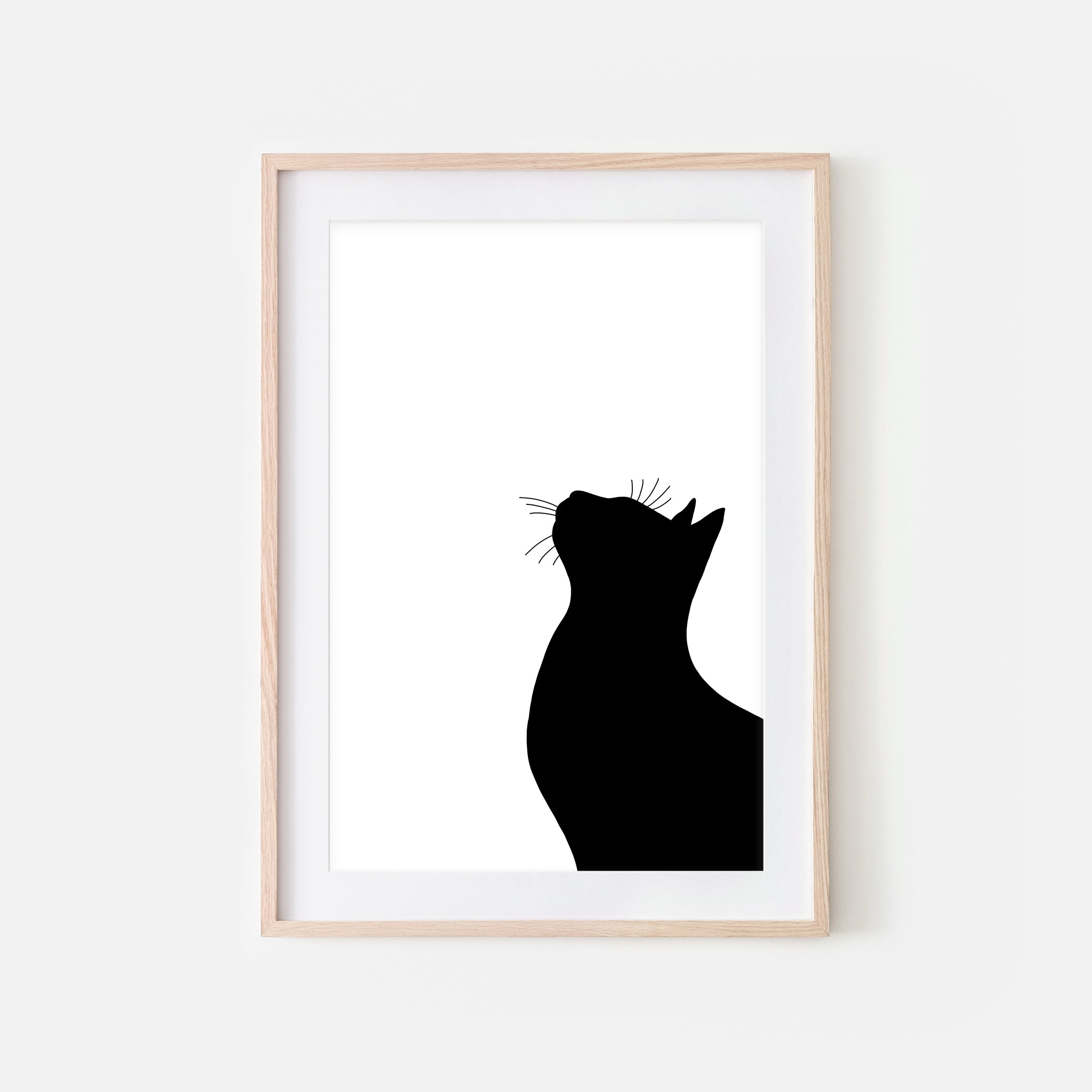 Cat Profile Silhouette Wall Art - Minimalist Black and White Print, Poster or Printable Download