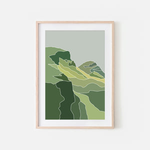 Mountains No. 5 Wall Art - Minimalist Abstract Landscape in Scotland - Green Gray Print, Poster or Printable Download