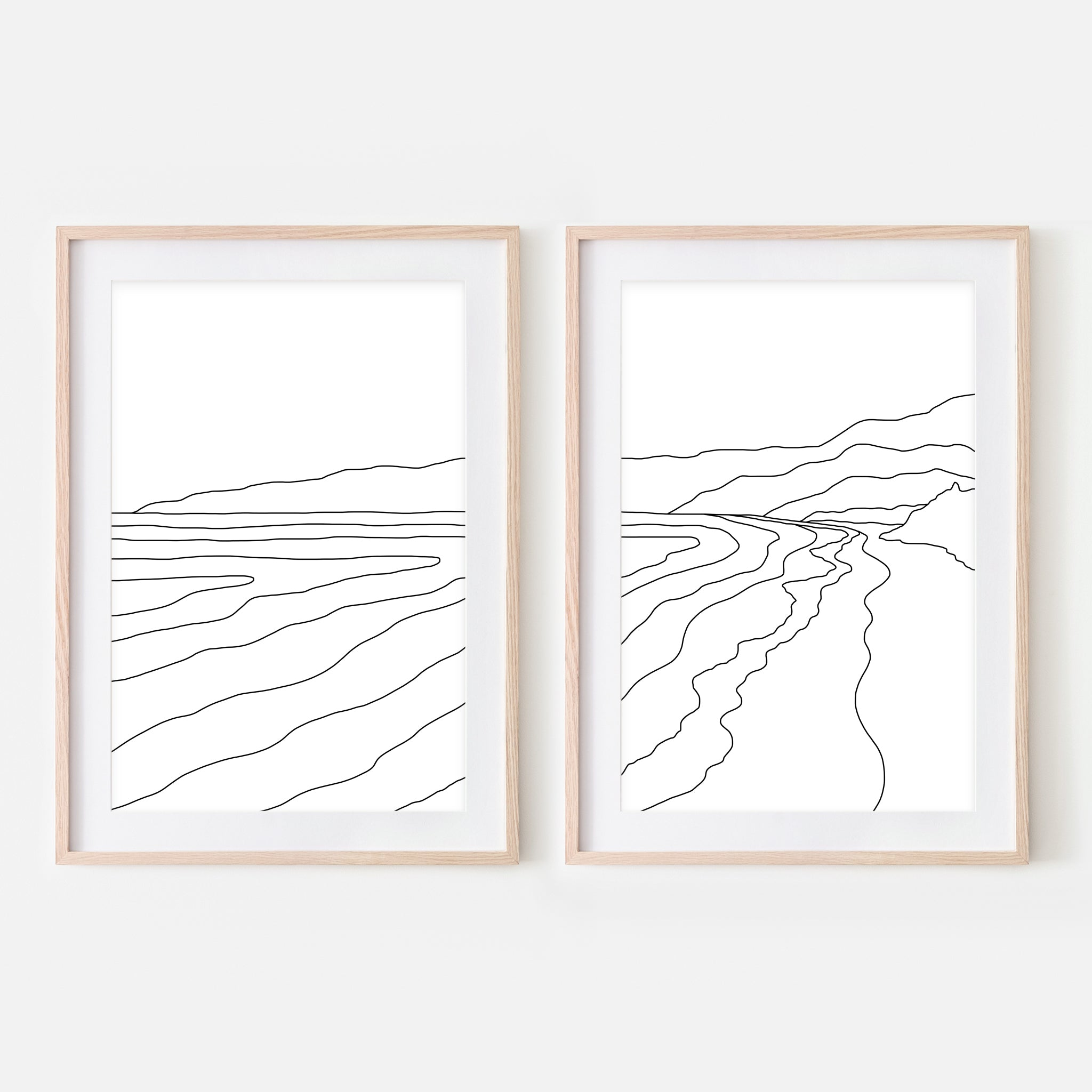 Beach Set No. 5 - Set of 2 Wall Art - Ocean Line Art - Mountain Coastal Decor - Minimalist Abstract Landscape - Black and White Print, Poster or Printable Download