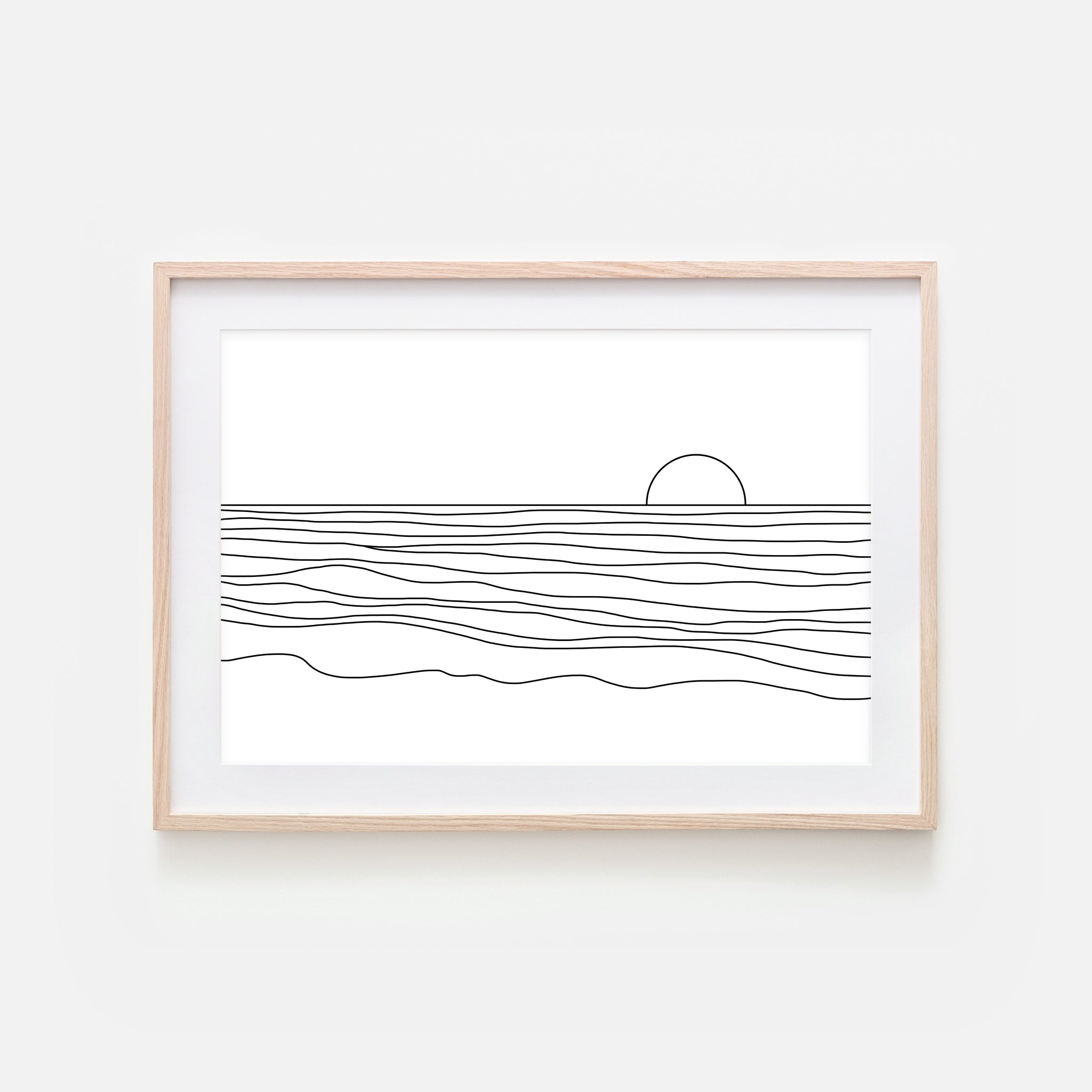 Sunset No. 5 Line Art - Minimalist Abstract Beach Ocean Landscape Wall Decor - Black and White Print, Poster or Printable Download