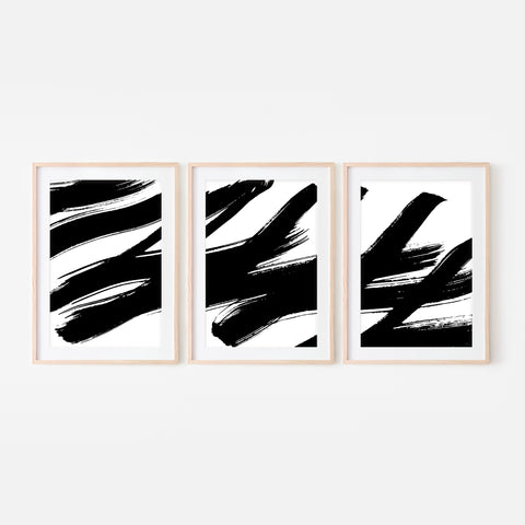 Set of 3 Abstract No. 6 Wall Art - Black and White Ink Brush Strokes Painting Triptych - Print, Poster or Printable Download