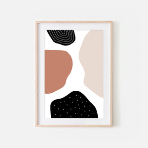 Abstract No. 6 Wall Art - Trending Modern Neutral Terracotta Beige Black and White Print, Poster or Printable Download - Vertical