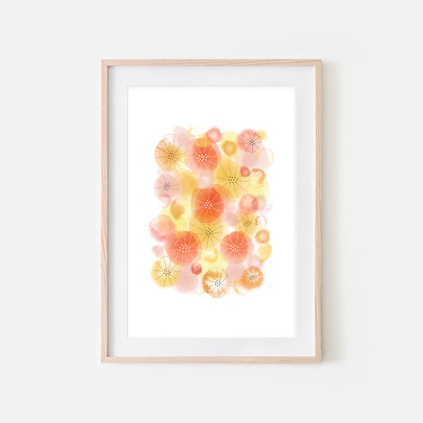 Abstract Watercolor No. 6 Wall Art - Yellow Orange Coral Print, Poster or Printable Download - Vertical
