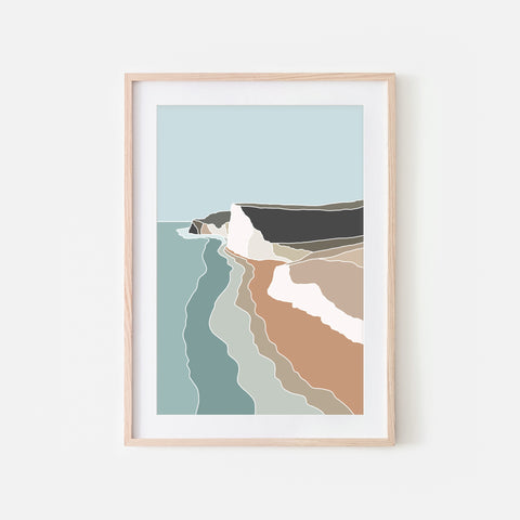 Beach No. 6 Wall Art - Minimalist Abstract Coastal Landscape - Teal Brown Beige Print, Poster or Printable Download