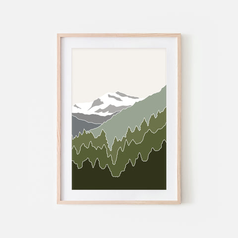 Mountains No. 6 Wall Art - Minimalist Abstract Landscape - Olive Green Gray Beige Print, Poster or Printable Download