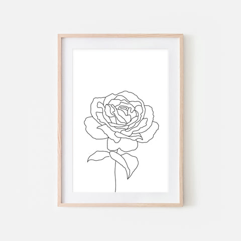 Floral No. 6 Wall Art - Minimalist Rose Flower Line Drawing - Black and White Print, Poster or Printable Download