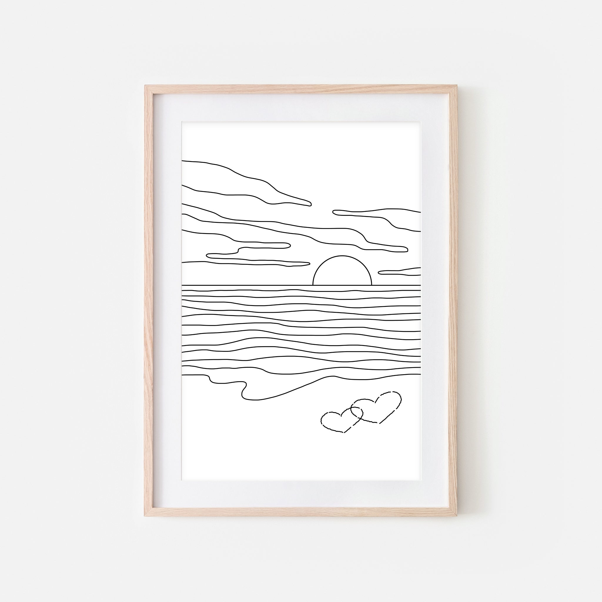 Sunset No. 6 Line Art - Minimalist Beach Ocean Landscape Wall Decor - Tropical Love Couple Bedroom Decor - Black and White Print, Poster or Printable Download