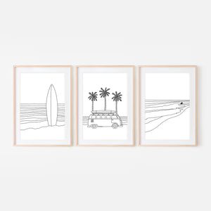Beach Set No. 6 - Surf & Van Life Wall Art - Set of 3 - Black and White Line Art Drawing - Print, Poster or Printable Download - Home Decor