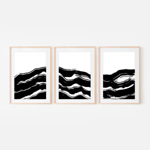 Set of 3 Abstract No. 7 Wall Art - Black and White Ocean Waves Ink Brush Strokes - Print, Poster or Printable Download