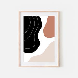 Abstract No. 7 Wall Art - Trending Modern Neutral Terracotta Beige Black and White Print, Poster or Printable Download - Vertical