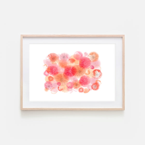 Abstract Watercolor No. 7 Wall Art - Red Orange Coral Pink Print, Poster or Printable Download - Horizontal