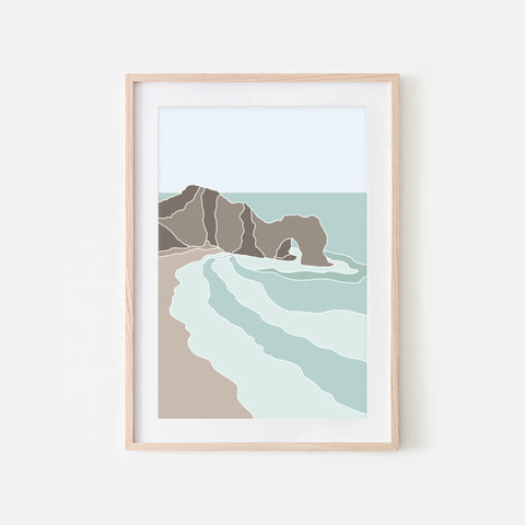 Beach No. 7 Wall Art - Durdle Door in Dorset UK - Minimalist Abstract Coastal Landscape - Teal Brown Beige Print, Poster or Printable Download