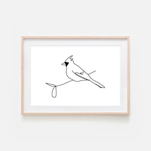 Bird No. 7 Cardinal Wall Art - Black and White Line Drawing - Print, Poster or Printable Download - Horizontal