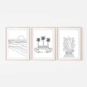 Set of 3 Beach Wall Art - Ocean Sunset Camper Van Life Pineapple - Black and White Line Art Drawing - Print, Poster or Printable Download - Home Decor
