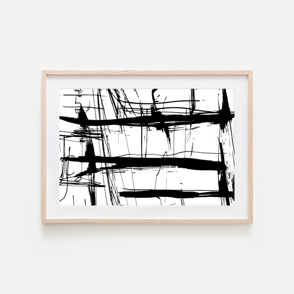 Abstract No. 8 Wall Art - Black and White Ink Brush Strokes Painting - Print, Poster or Printable Download - Horizontal