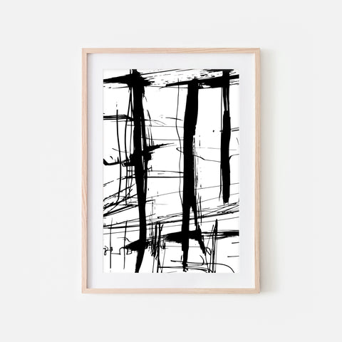 Abstract No. 8 Wall Art - Black and White Ink Brush Strokes Painting - Print, Poster or Printable Download - Vertical