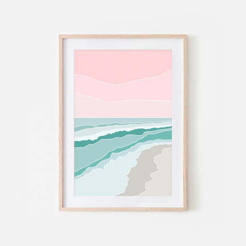 Beach No. 8 Wall Art - Minimalist Abstract Coastal Landscape - Pink Aqua Teal Beige Print, Poster or Printable Download