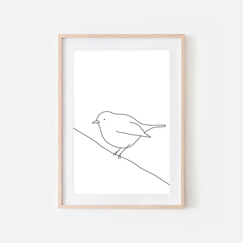 Bird on a Wire Wall Art No. 8 - Black and White Line Drawing - Print, Poster or Printable Download