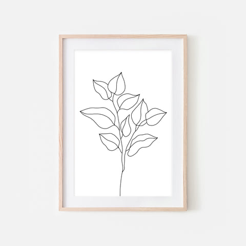 Botanical No. 8 Wall Art - Minimalist Branch and Leaves Line Drawing - Black and White Print, Poster or Printable Download