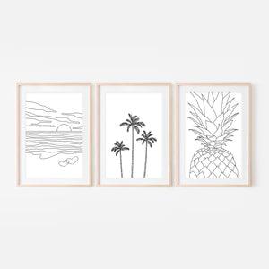 Set of 3 Beach Wall Art - Ocean Sunset Love Palm Trees Pineapple - Black and White Line Art Drawing - Print, Poster or Printable Download - Home Decor