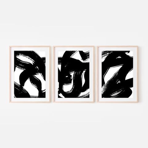 Set of 3 Abstract No. 9 Wall Art - Black and White Ink Brush Strokes Painting Triptych - Print, Poster or Printable Download