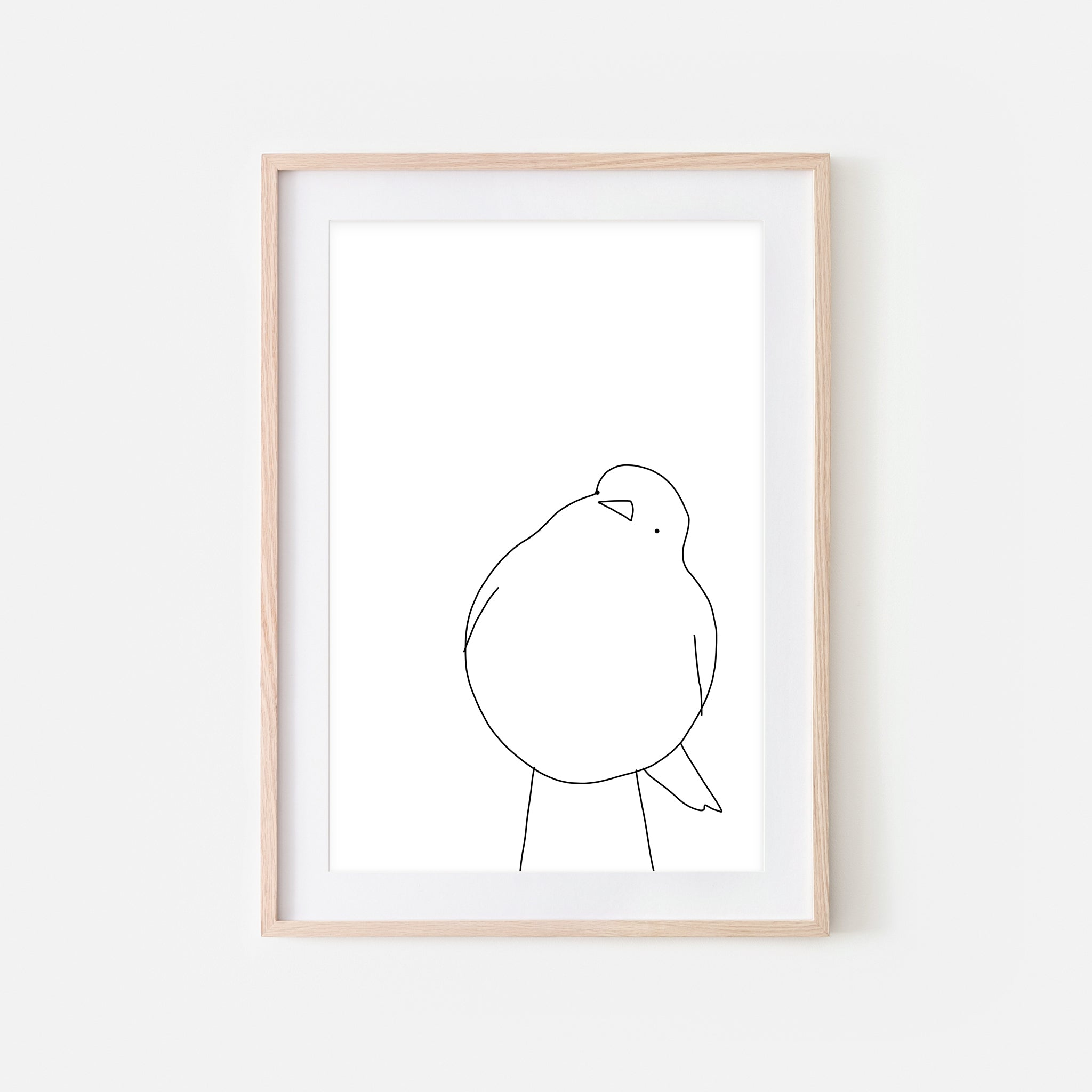 Bird No. 9 Wall Art - Black and White Line Drawing - Print, Poster or Printable Download